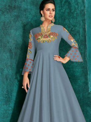 Embroidered Silk Trendy Gown
