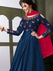 Embroidered Tafeta Silk Anarkali Salwar Kameez