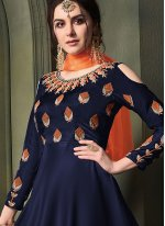 Embroidered Tafeta Silk Anarkali Salwar Suit in Blue