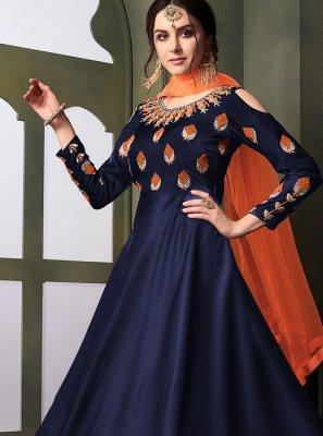 Embroidered Tafeta Silk Anarkali Salwar Suit in Blue