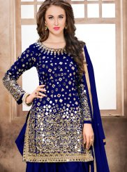 Embroidered Tafeta Silk Aqua Blue and Blue Trendy Patiala Salwar Kameez