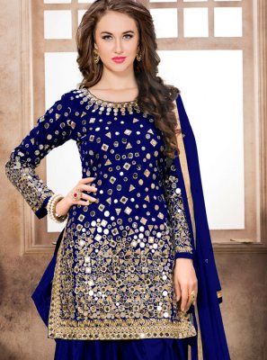 Embroidered Tafeta Silk Blue Trendy Patiala Salwar Kameez