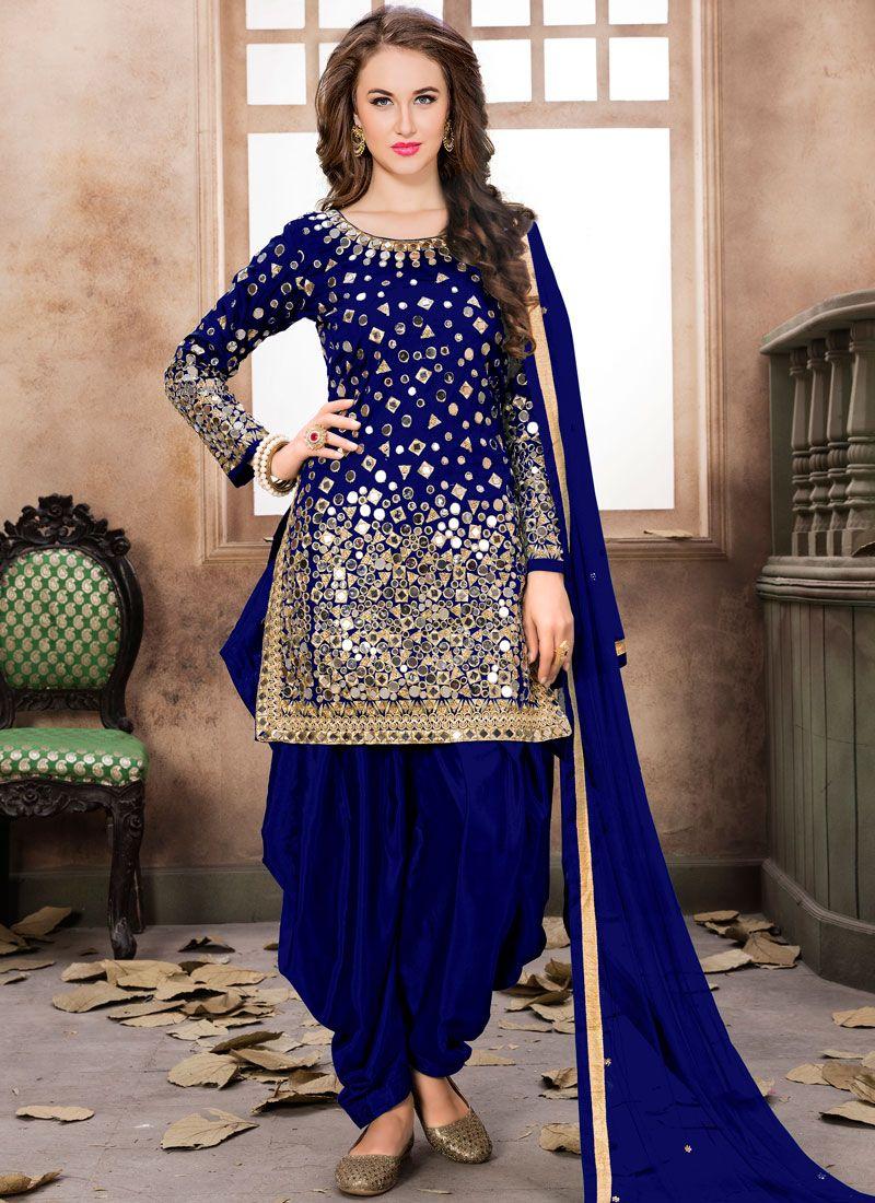 Embroidered Tafeta Silk Aqua Blue and Blue Trendy Patiala Salwar Kameez