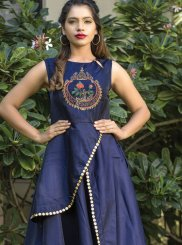 Embroidered Tafeta Silk Blue Readymade Gown