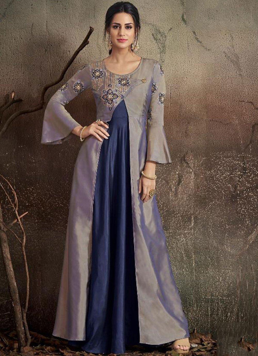 Embroidered Tafeta Silk Designer Gown