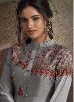 Embroidered Tafeta Silk Designer Gown in Grey