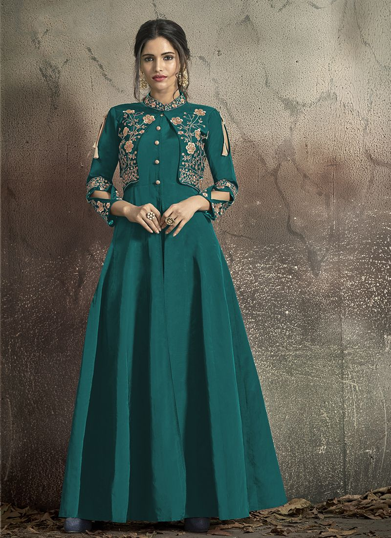 Embroidered Tafeta Silk Teal Designer Gown