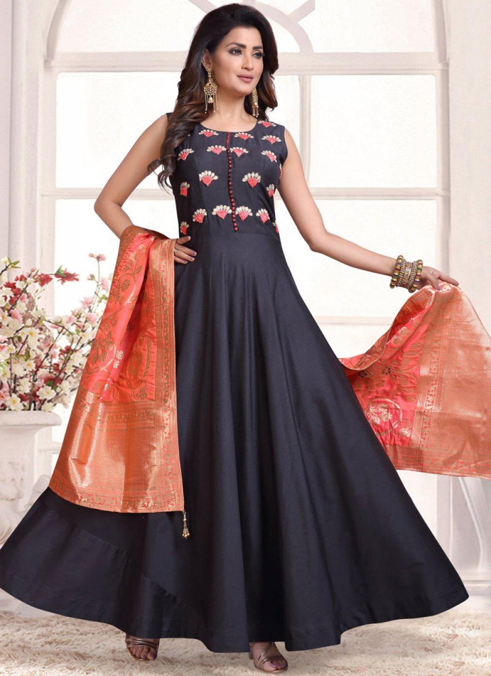 Embroidered Tafeta Silk Trendy Anarkali Salwar Suit in Black