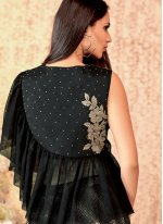 Embroidered Tafeta Silk Trendy Designer Lehenga Choli in Black