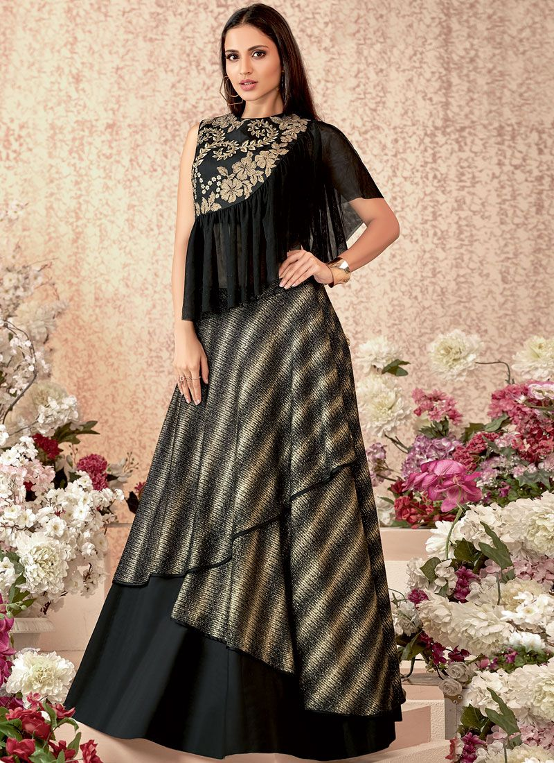 Embroidered Tafeta Silk Trendy Designer Lehenga Choli in Black