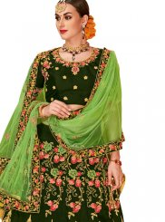 Embroidered Tafeta Silk Trendy Lehenga Choli