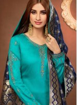 Embroidered Teal Churidar Suit