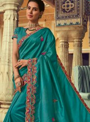 Embroidered Teal Classic Designer Saree