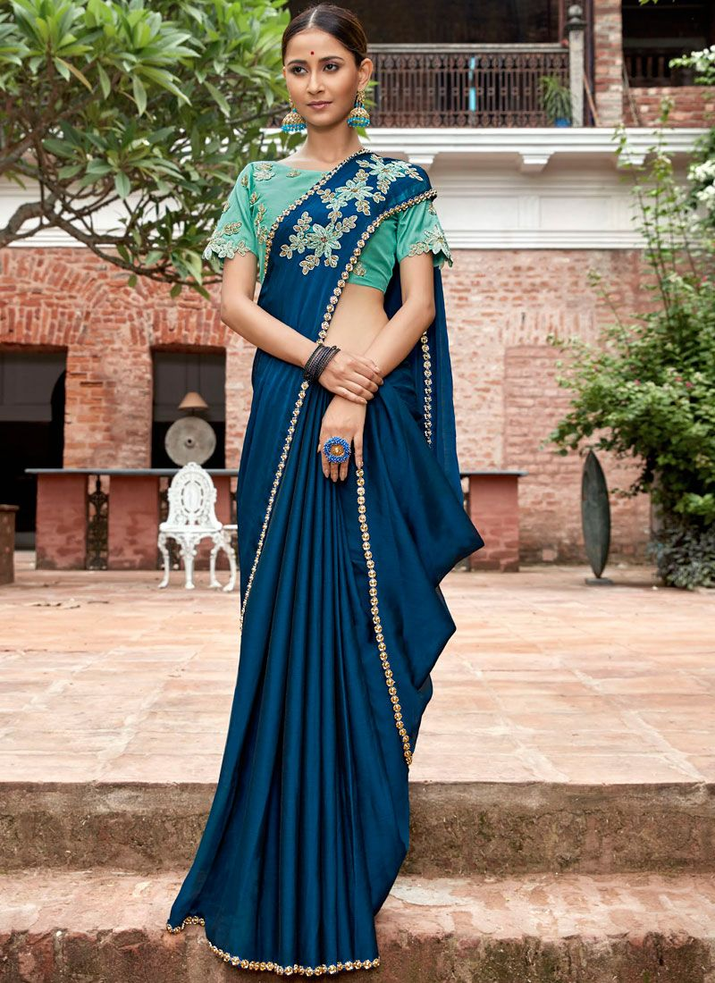 Embroidered Teal Classic Saree