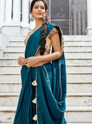 Embroidered Teal Designer Traditional Saree