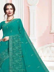 Embroidered Teal Faux Georgette Classic Saree