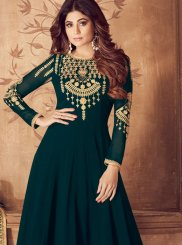 Embroidered Teal Georgette Anarkali Salwar Kameez