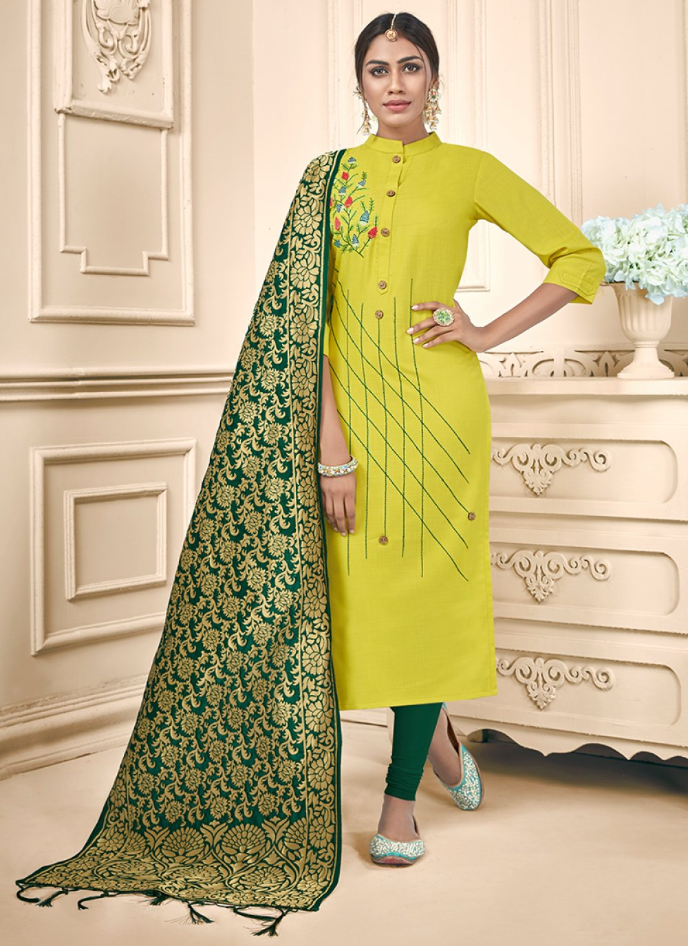 Embroidered Trendy Churidar Suit