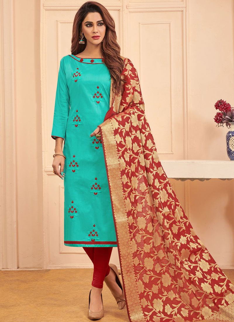 Embroidered Turquoise Designer Straight Salwar Suit