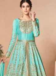 Embroidered Turquoise Satin Silk Anarkali Salwar Suit