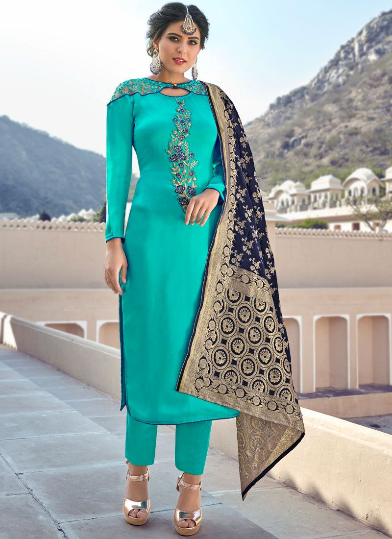 Embroidered Turquoise Straight Salwar Suit