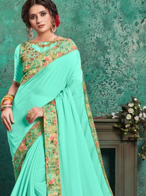 Embroidered Turquoise Traditional Saree