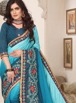 Embroidered Turquoise Trendy Saree