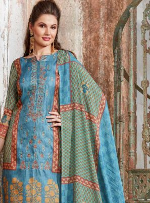 Embroidered Tussar Silk Pant Style Suit in Blue