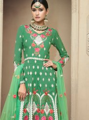 Embroidered Uppada Silk Designer Palazzo Salwar Suit in Green