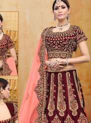 Embroidered Velvet A Line Lehenga Choli