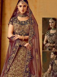 Embroidered Velvet Designer A Line Lehenga Choli in Beige and Maroon