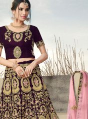 57b3f80fa0 Wine Lehenga Choli, Wine Color Lehengas and Wine Color Ghagra and ...