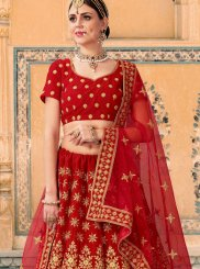 Embroidered Velvet Lehenga Choli