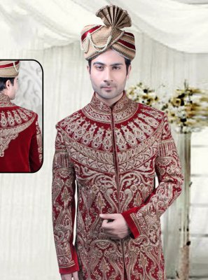 Embroidered Velvet Sherwani in Maroon