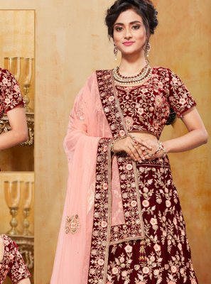 Embroidered Velvet Trendy A Line Lehenga Choli