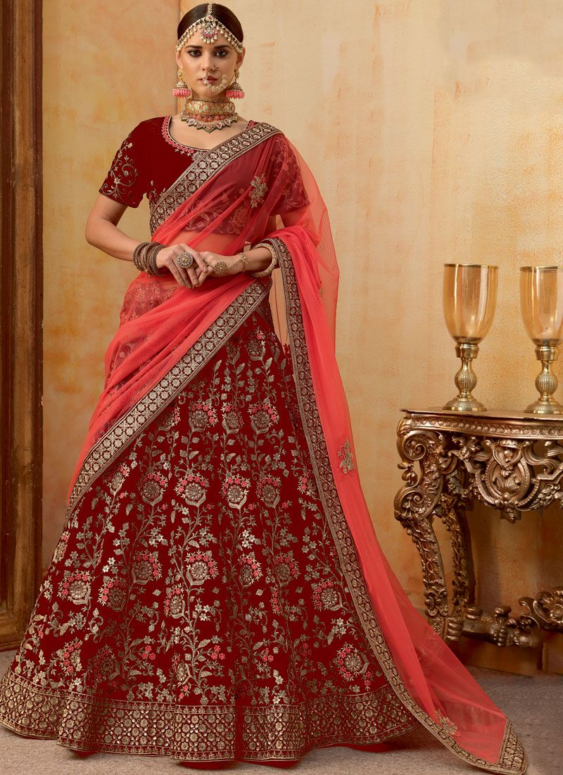 Embroidered Velvet Trendy A Line Lehenga Choli in Red