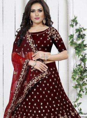 Embroidered Velvet Trendy Designer Lehenga Choli in Maroon
