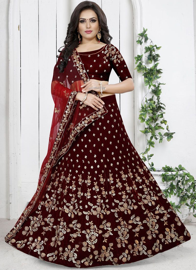 Embroidered Velvet Trendy Designer Lehenga Choli in Maroon