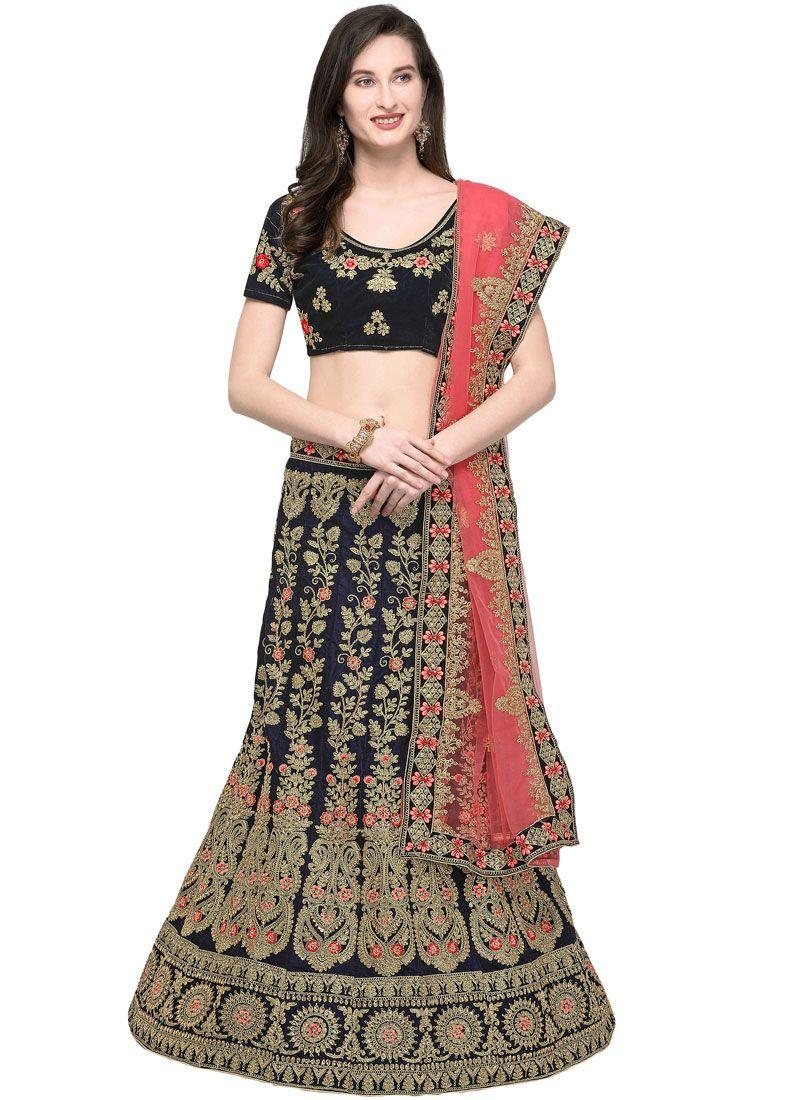 Embroidered Velvet Trendy Lehenga Choli