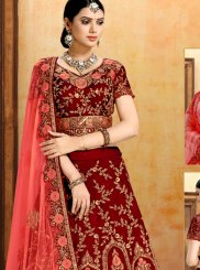 Embroidered Velvet Trendy Lehenga Choli