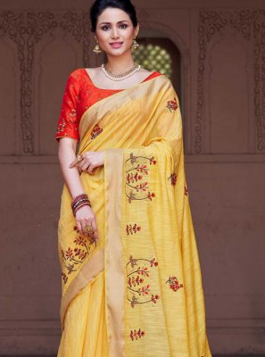 Embroidered Viscose Classic Designer Saree in Yellow