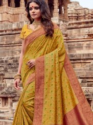 Embroidered Viscose Mustard Classic Saree