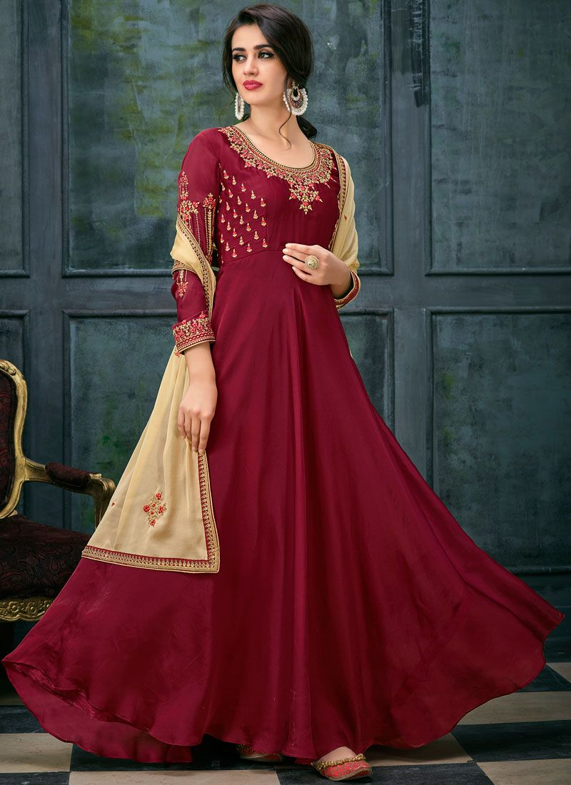 Embroidered Wedding Floor Length Anarkali Suit