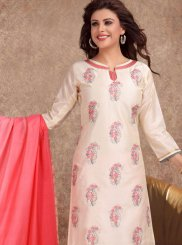 Embroidered White Banarasi Silk Churidar Salwar Suit