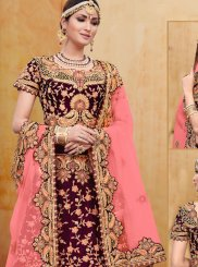 Embroidered Wine A Line Lehenga Choli