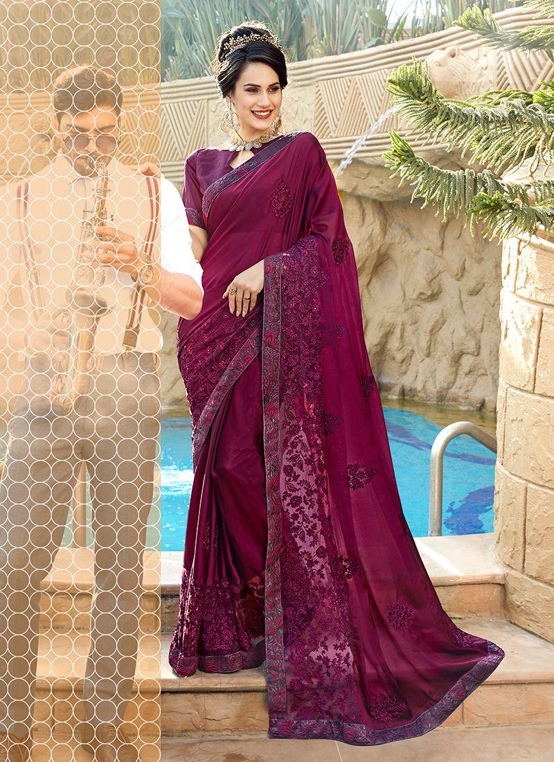 Embroidered Wine Georgette Trendy Saree