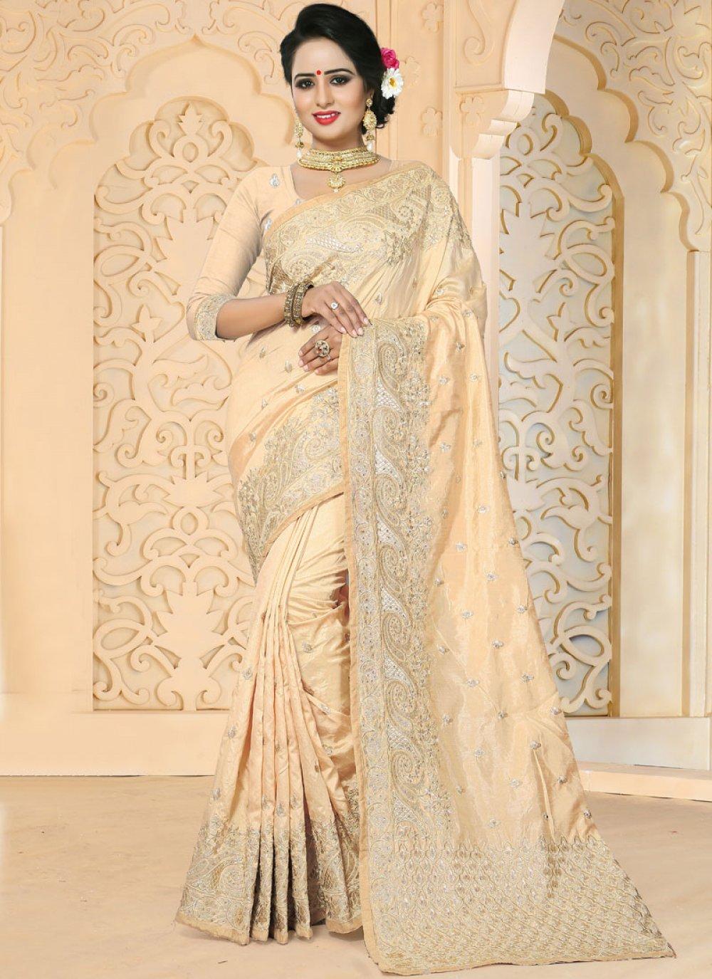 Embroidered Work Art Silk Designer Traditional Saree