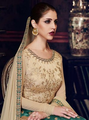 Embroidered Work Beige and Sea Green Handloom silk Floor Length Anarkali Suit