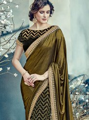 Embroidered Work Black and Gold Lehenga Saree