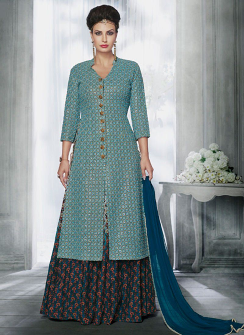 Embroidered Work Blue and Grey Long Choli Lehenga